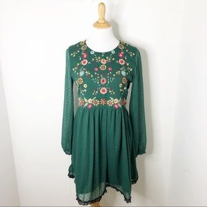Zara Green Floral Embroidered Long Sleeve Dress